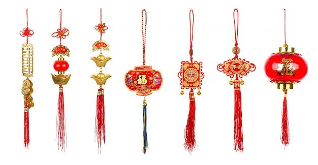 Chinesische dekoration des neuen jahres auf weißem hintergrund