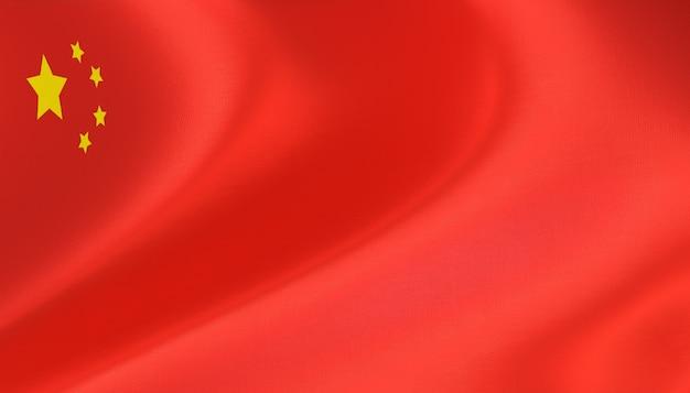 Chinesische flagge 3d-rendering mit textur