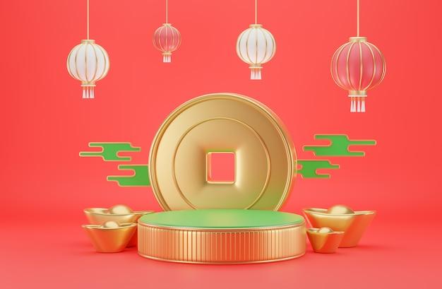 Chinesische goldzylinder-dekoretion für produktpräzentration in 3d-rendering