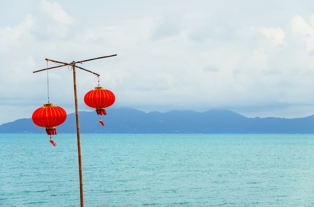Chinesische laterne am strand