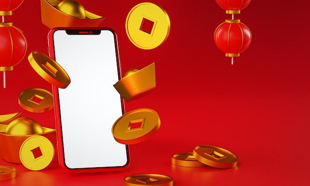 Chinesische neujahrsförderung. goldmünzenbarren fallen. laternen-3d-rendering