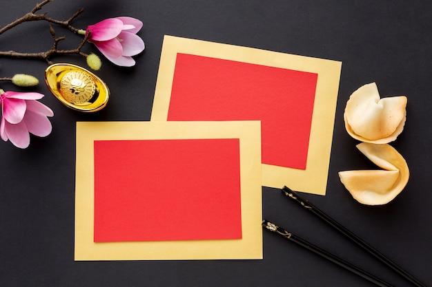 Chinesische neujahrskarte mit magnolie