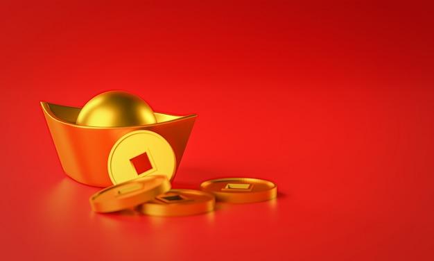Chinesische neujahrskomposition. chinesischer goldmünzbarren. 3d-rendering