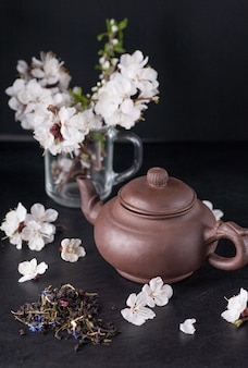 Chinesische teekanne und blumen aprikosen