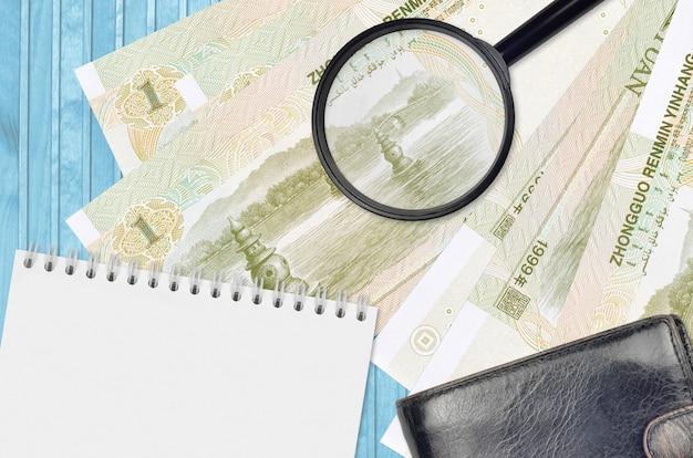 Chinesische yuan-scheine und lupe mit schwarzer geldbörse und notizblock