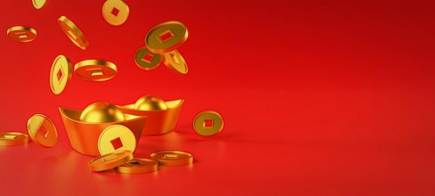 Chinesischer neujahrsbanner-hintergrund. chinesische goldmünze fällt auf barren. 3d-rendering