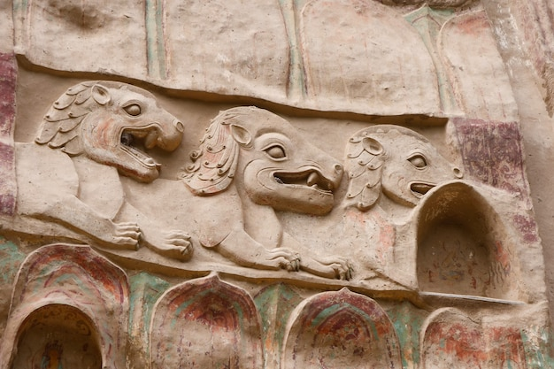 Chinesisches altes traditionelles la shao tempelgrottenreliefgemälde in tianshui wushan wasservorhanghöhlen, gansu china