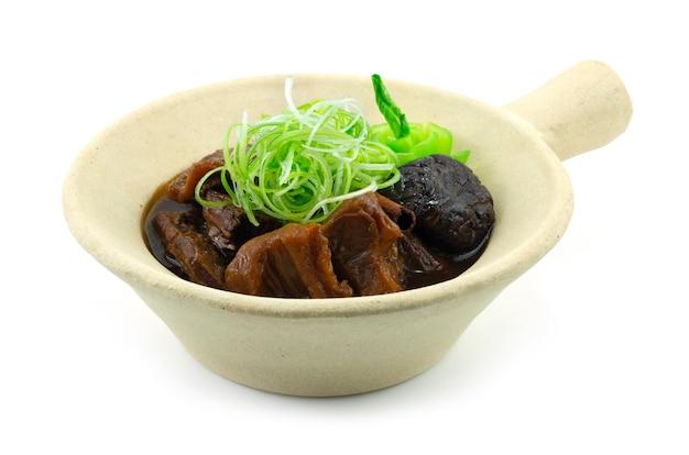 Chinesisches geschmortes rindfleisch und champignons im tontopf auf schnitzel frühlingszwiebel seitenansicht