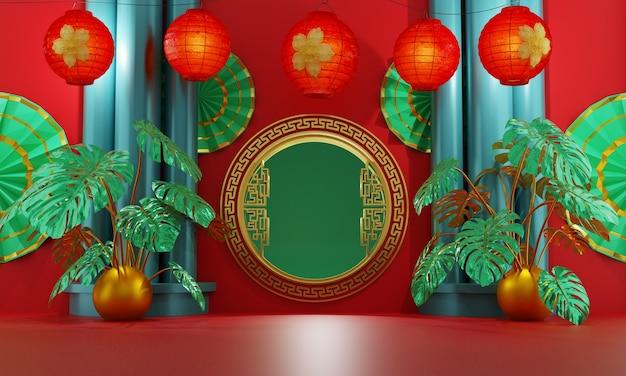 Chinesisches goldenes tor, verziert mit roten laternen und tropischer anthuriumpflanze auf einem roten hintergrund und drei grünen säulen