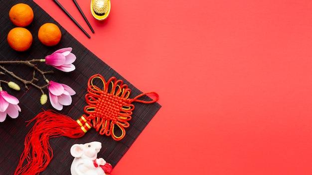 Chinesisches neues jahr des anhängers und der magnolie