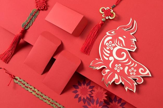 Chinesisches neujahr mit ochsenkonzept