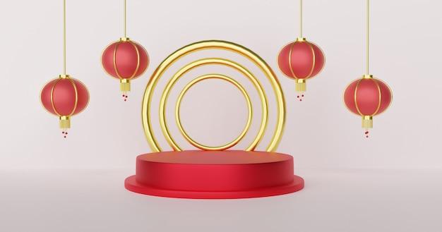 Chinesisches neujahr mit podium für ein produkt 3 d rendering.