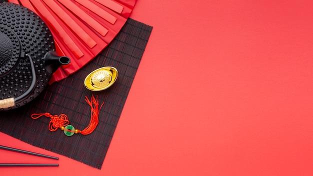Chinesisches neujahrsfest der teekanne und des anhängers