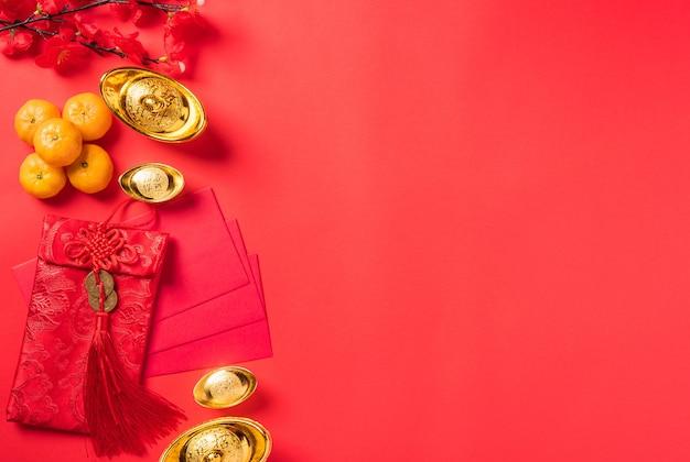 Chinesisches neujahrsfest draufsicht frohes chinesisches neujahrs- oder mondneujahrsdekorationsfest