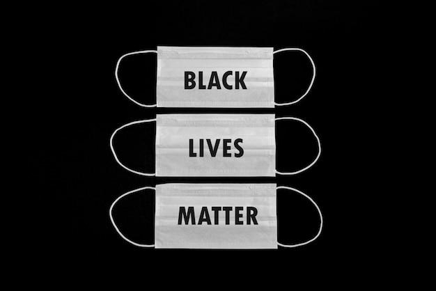 Chirurgische maske mit dem thema der schwarzen lebensmaterie