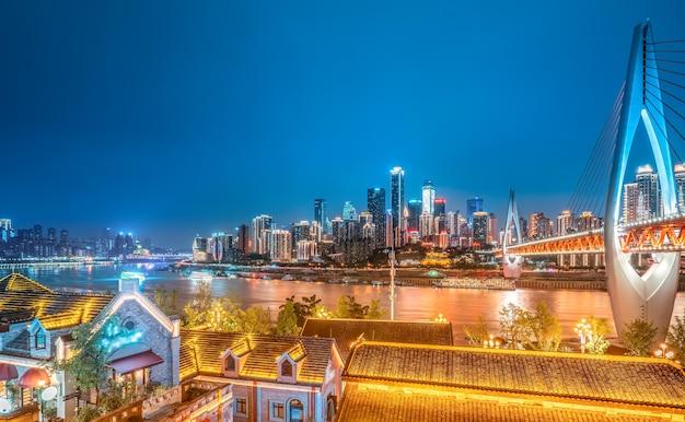 Chongqing nachtansicht und architektonische landschaft skyline
