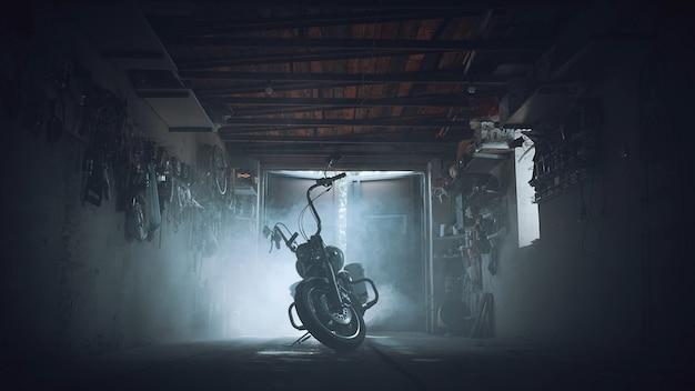 Chopper in einer garage in rauchwolken