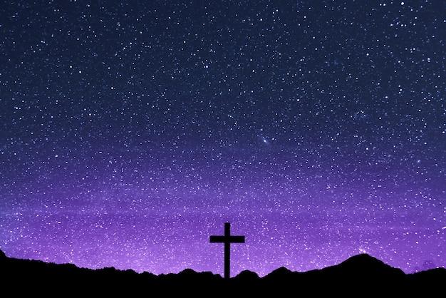 Christian cross auf dem feld