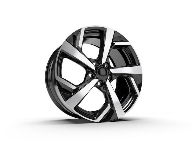 Chrom auto leichtmetallrad isoliert auf weiß