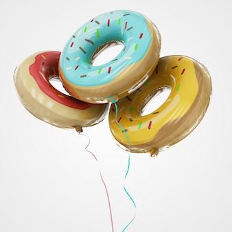 Chrome-ballons gemacht vom aufblasbaren ballon lokalisiert auf weiß. 3d-rendering