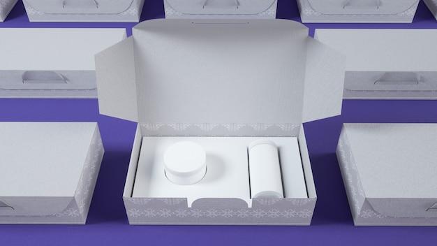Cinema 4d-rendering der weißen kosmetikcremebox für modellanzeige Premium Fotos