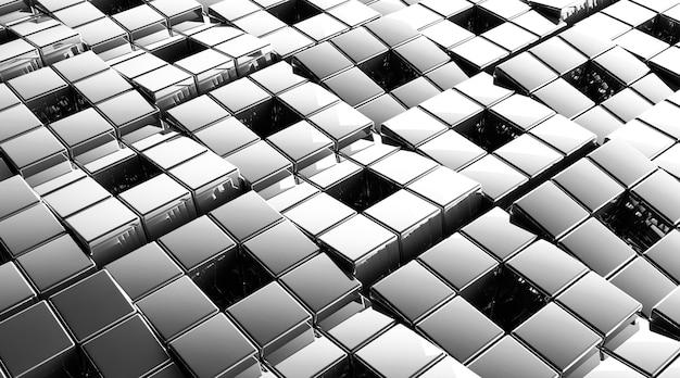 Cinema 4d-rendering des abstrakten silberwürfelhintergrunds
