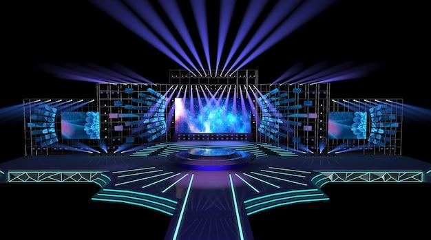 Cinema 4d-rendering des bühnenkonzepts mit dekorativen lichtern