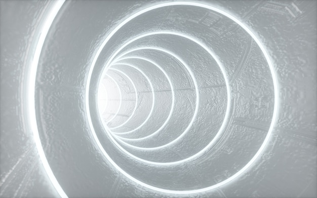 Cinema 4d-rendering des kreisförmigen tunnelhintergrunds mit weißen lichtern für das anzeigemodell