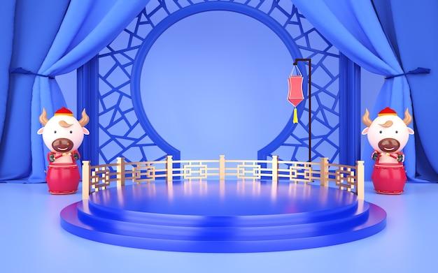 Cinema 4d-rendering einer hellblauen hintergrundplattform mit chinesischen dekorationen