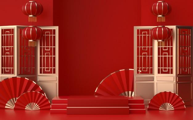 Cinema 4d-rendering einer plattform mit rotem hintergrund und dekorationen im chinesischen stil