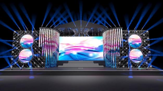 Cinema 4d-rendering eines bühnenkonzepts mit farbenfrohen lichtdekorationen und einer großen leinwand