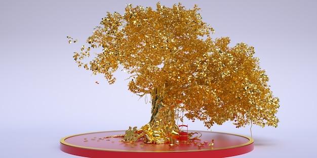 Cinema 4d-rendering eines chinesischen goldbaums