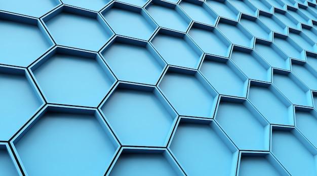 Cinema 4d-rendering von geometrischen blauen hintergrundillustrationen mit fünfeckigen mustern