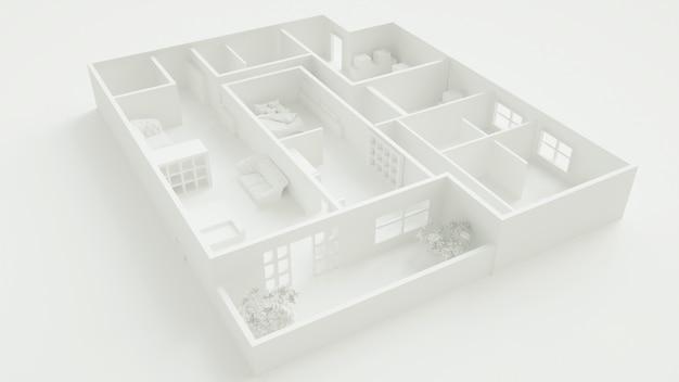 Cinema 4d-rendering von illustrationen für das home-layout-konzept