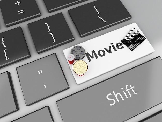 Clapper-brett des film-3d, popcorn und filmspule auf computertastatur.