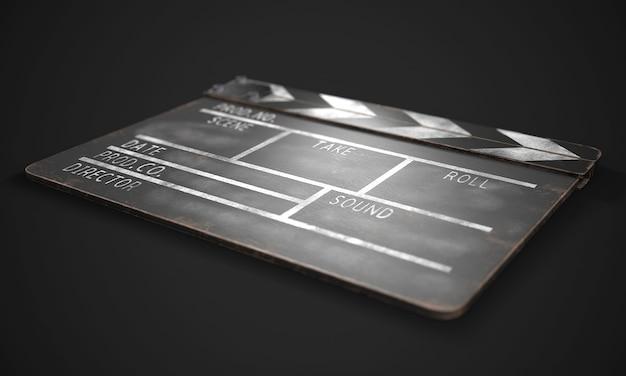 Clapperboard auf schwarzer nahaufnahme. 3d-rendering.