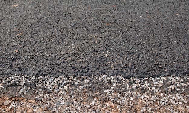 Close-up asphalt an der straße im bau.