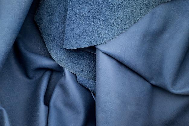 Close up falten marineblau leder textur hintergrund
