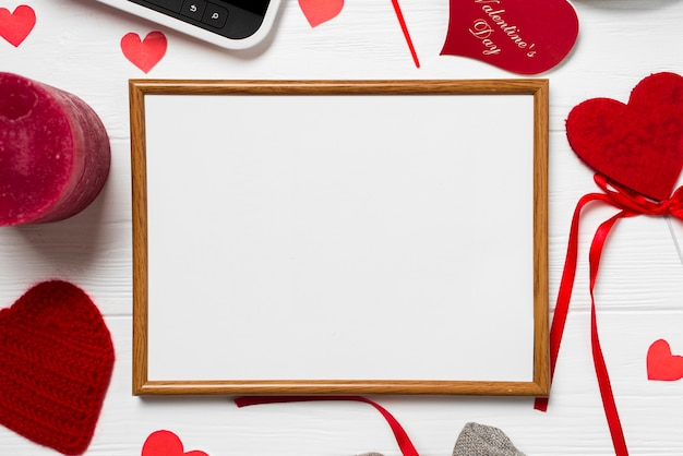 Close-up frame und valentinstag sachen