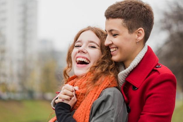 Close-up schöne frauen lachen