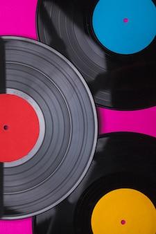 Close-up vinyl-schallplatten