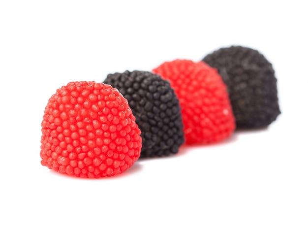 Close-up von gummibärchen brombeeren