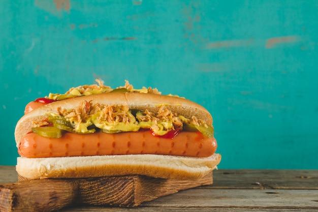 Close-up von leckeren hot dog