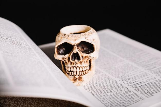 Close-up von schädel auf buch