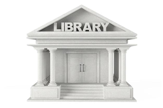 Closeup bibliotheksgebäude auf weißem hintergrund Premium Fotos