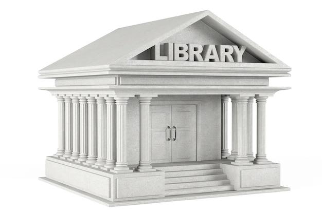Closeup bibliotheksgebäude auf weißem hintergrund