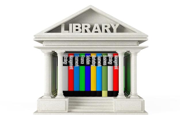 Closeup bibliotheksgebäude mit büchern auf weißem hintergrund