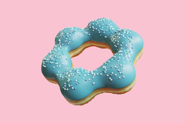 Closeup blue donut topping mit zuckerguss streusel süß isoliert auf blauem hintergrund schwimmend. minimal food idea konzept 3d-rendering.