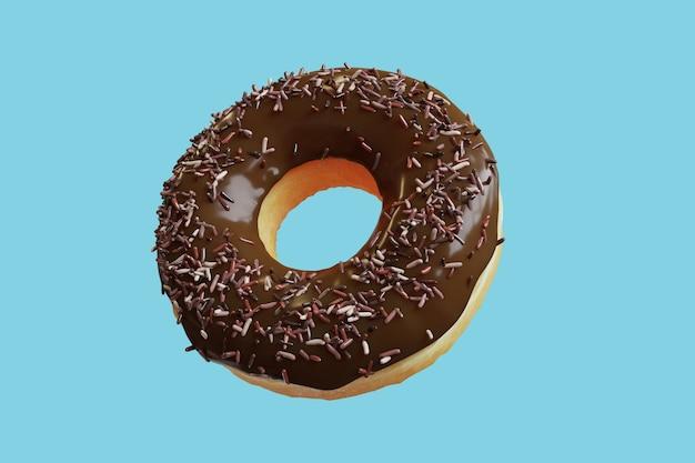 Closeup chocolate donut topping mit bunten zuckerguss süß isoliert auf blauem hintergrund schwimmend. minimal food idea konzept 3d-rendering.