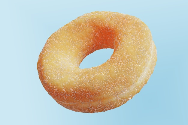Closeup donut mit zucker beschichtet isoliert auf blauem hintergrund schwimmend. minimal food idea konzept 3d-rendering.